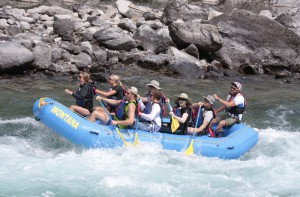 Rebecca and crew rafting Glacier National Park