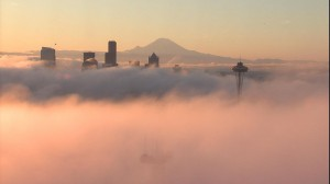 Morning fog over Seattle - view from Queen Anne hill (courtesy KIRO7)