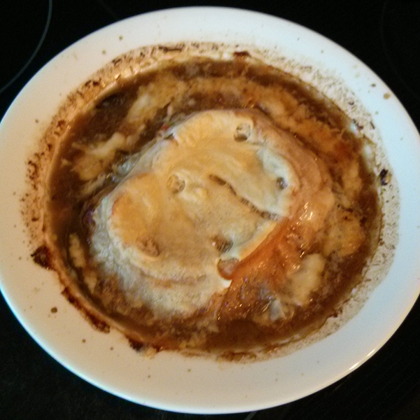 French Onion & Mushroom soup topped with crouton and cheese