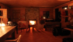 Cabin fireplace